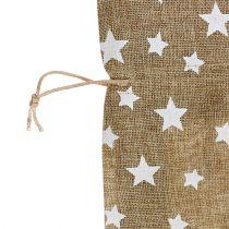 Jutesekk med stjerner 23cm x 23cm H35cm naturlig