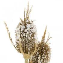 Tistelgren kunstig iset brun tistel med 3 hoder 90 cm