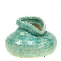 Keramisk vase antikkblå H9cm