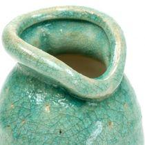 Vase i keramikk, antikkblå H21cm