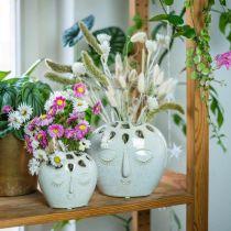 Keramisk vase med ansiktskrem, beige H13cm steintøylook 1p