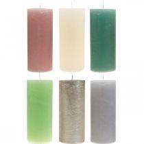 Søylelys farget gjennom forskjellige farger 85 × 200mm 2stk