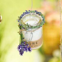 Stearinlys i glassdekorasjon med lokk Pure Nature voksstearin bivoks olivenolje