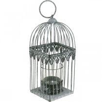 Stearinlysdekorasjon, fuglebur med telysglass, metalllykt, bryllupsdekorasjon, lykt 22cm