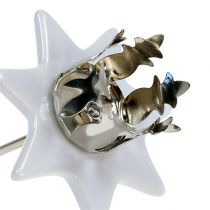 Lysestake stjerne hvit-sølv Ø6cm 4stk