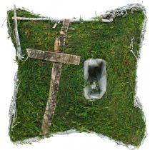 Pute mose og vinstokker med kors for gravplassering 25x25cm