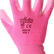 Kixx hagearbeidshansker størrelse 7 rosa, rosa