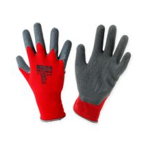 Kixx nylon hagehansker størrelse 8 rød, grå