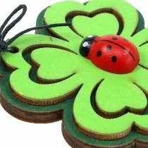 Shamrock med bille for å henge grønn 7cm 6stk