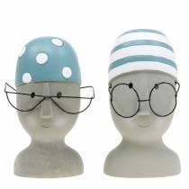 Dekorativ hodesvømmer med briller og badehette blå hvit H15cm / 16cm 2stk