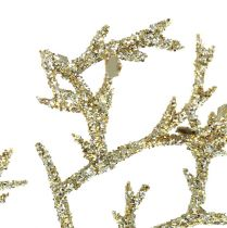 Korallgrein med glimmer lys gull 3stk