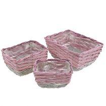 Firkantet kurv, sett med 3 rosa-naturlige