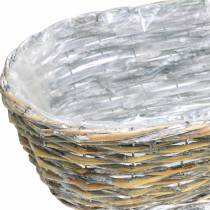 Plantekurv, oval, naturlig, vasket hvit 37/43 / 49cm, sett med 3