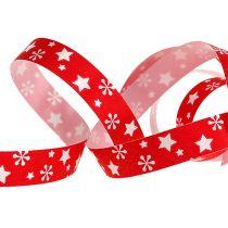 Rødt curlingbånd med stjernemønster 10mm 150m
