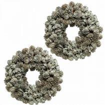 Dekorative kransekegler lerk og sypresshvit, glitter Ø20cm 2stk