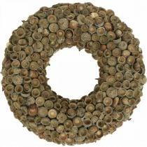 Høstpyntkrans av eikenøtter naturlig krans Ø30cm