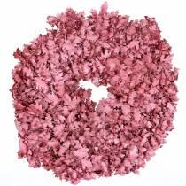 Krans av eikeblader rosa voks Ø38cm