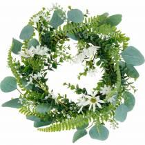 Kunstig eukalyptuskrans med bregne, kappekrus og jasmin, dørkrans, dekorasjonskrans, borddekorasjon
