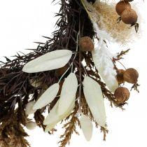 Dekorativ krans kunstig tørt gress og frukt dørkrans Ø50cm