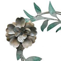 Hageplugg blomsterkrans metall H63cm