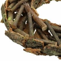 Dekorativ krans med grener og bark, moset Ø40cm