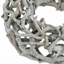 Dekorativ krans, trekrans, kalket grå, korketrekker pil Ø40cm