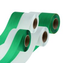 Kransebånd Moiré grønn-hvit vers. Bredder 25m