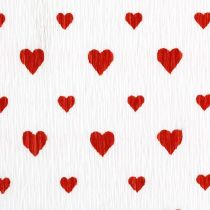 Crepe papir med hjerter Blomsterhandler crepe Mothers Day rød, hvit 50 × 250cm