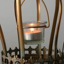Dekorativ krone telysholder gull Ø19cm H29cm