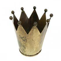 Kronelysholder metall antikk messing utseende Ø12.5cm H11.5cm