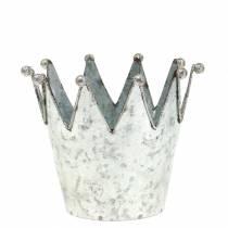 Dekorativ gryte krone metall sølv Ø13,5cm H11,5cm 2stk