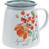 Dekorativ mugge med ville roser, emaljekanne, metallvase vintage look H12.5cm