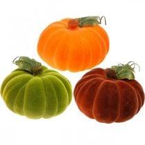 Dekorativ gresskar flokket blanding oransje, grønn, rød høstdekorasjon 16cm 3stk
