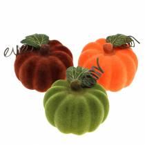 Mini gresskar flokket oransje, grønt, rødt Ø9cm 6stk