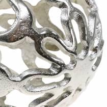 Dekorativ ball openwork metall sølv Ø15cm