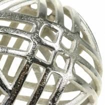 Dekorativ ball openwork metall sølv Ø20cm