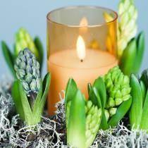LED-lys i glass ekte voks oransje Ø10cm H12,5cm