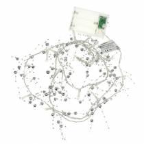 LED lys kjede perle krans sølv varm hvit L120cm