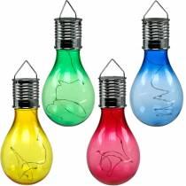Hagedekorasjon sollys LED-pære assortert 15cm 4stk