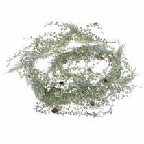Lerkekrans grønn / iset med kjegler 180cm