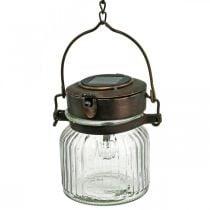 LED-lykt, hengelampe, sollys i glasset Ø11cm H14cm
