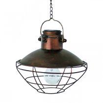 LED-hengelampe, rustikk pendellampe, soldrevet Ø24,5cm H24cm