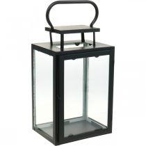 Dekorativ lanterne svartmetall, rektangulært glasslykt 19x15x30,5cm