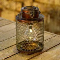 Metalllykt, sollampe, LED, antikk optikk Ø13,5cm H28,5cm