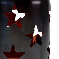 Lykt med stjernemønster svart-kobber Ø10cm H13,5cm