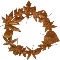 Bladkrans, edel rust, metalldekorasjon, krans, høstdekorasjon, minneblomstring Ø29cm