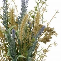 Kunstig lavendelbunt, silkeblomster, feltbukett av lavendel med hveteører og engsweet