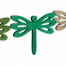 Øyenstikkere å spre, sommerdekorasjon laget av tre, borddekorasjon grønn 48stk