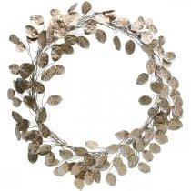 Dekorativ krans sølv blad kunstig krans av blader champagne Ø59cm