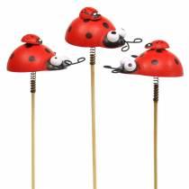 Dekorativ plugg marihøne på pinne tre rød, svart 4cm x 2,5cm H23,5cm 16stk